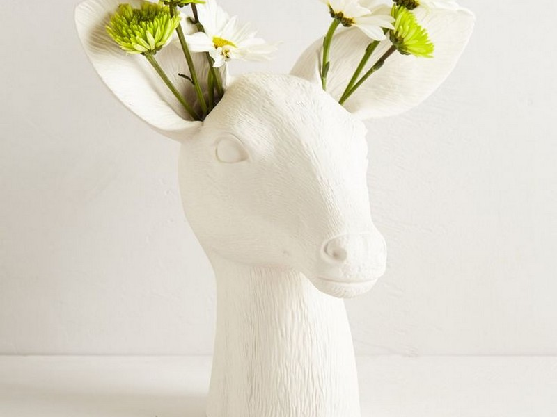 White Ceramic Deer Head Vase