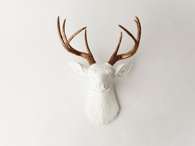 White Ceramic Deer Head Wall Mount