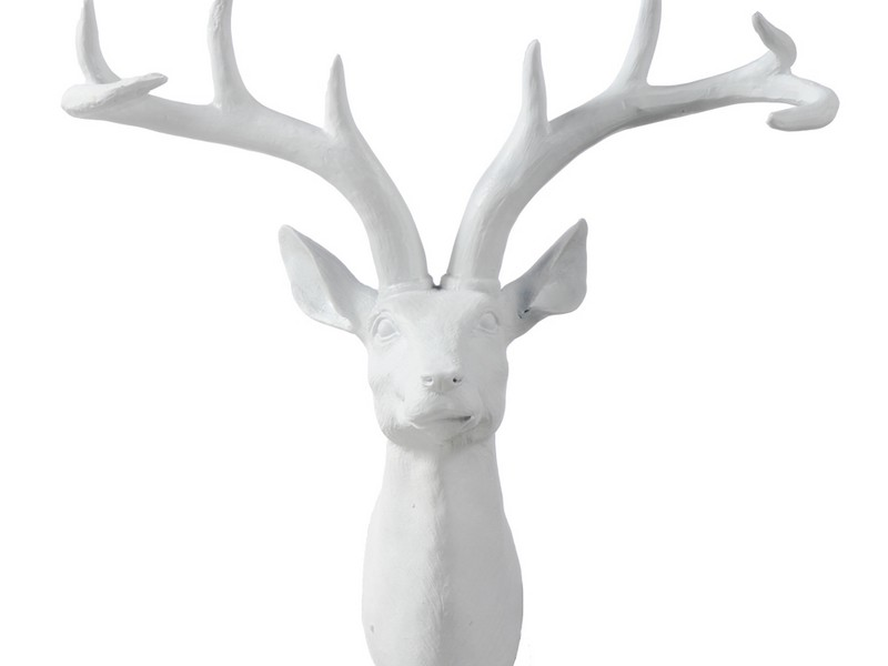 White Ceramic Deer Head