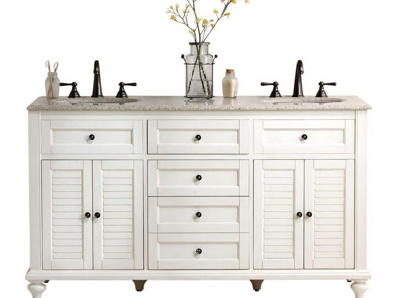 White Distressed Bathroom Vanity