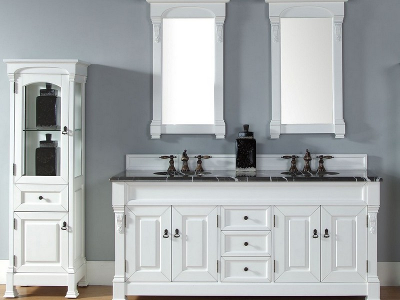 White Double Sink Bathroom Vanities