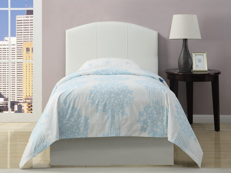 White Fabric Headboard Twin