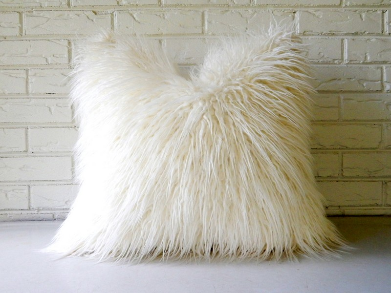 White Faux Fur Pillow Covers
