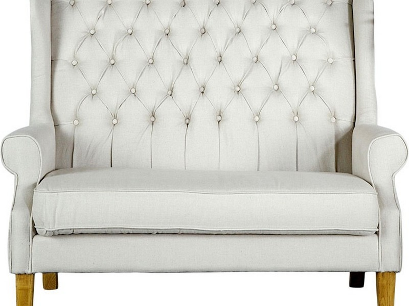 White High Back Loveseat