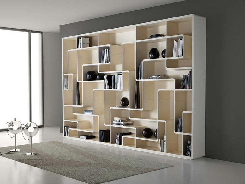 White Lacquer Bookcase With Doors
