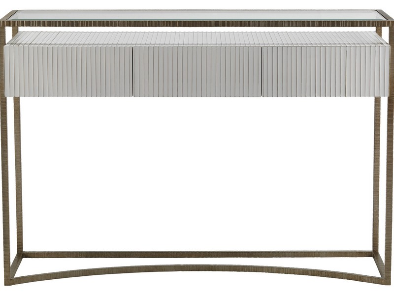 White Lacquer Console Table With Drawers