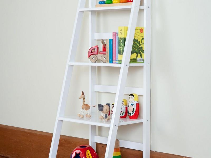 White Leaning Bookshelf