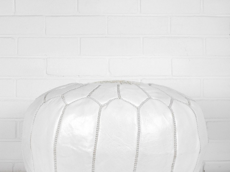 White Leather Pouffe Uk