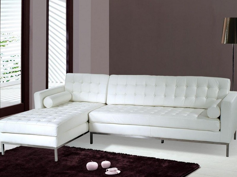 White Leather Sectional Couch