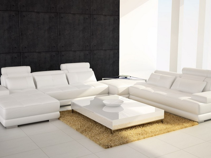 White Leather Sectional With Ottoman