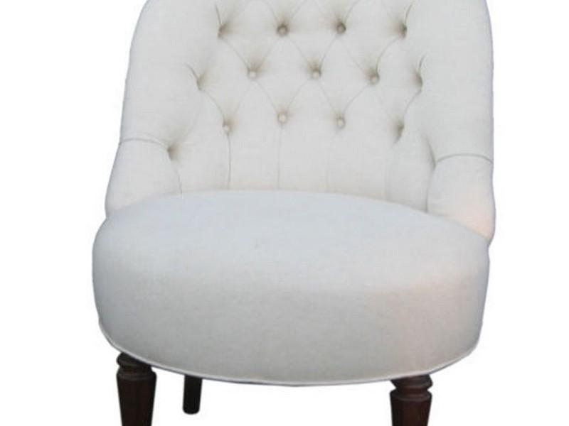 White Leather Slipper Chair