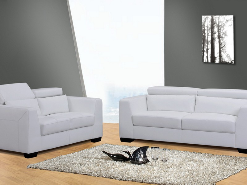 White Leather Sofa And Loveseat