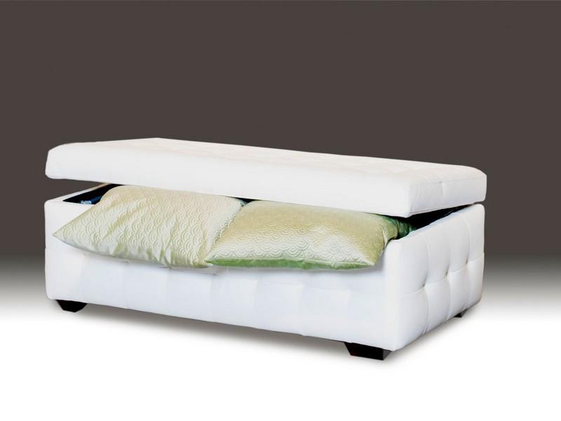White Leather Storage Trunk