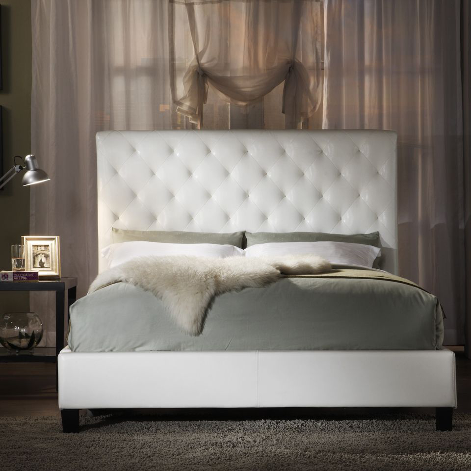 White Leather Tufted Headboard Queen