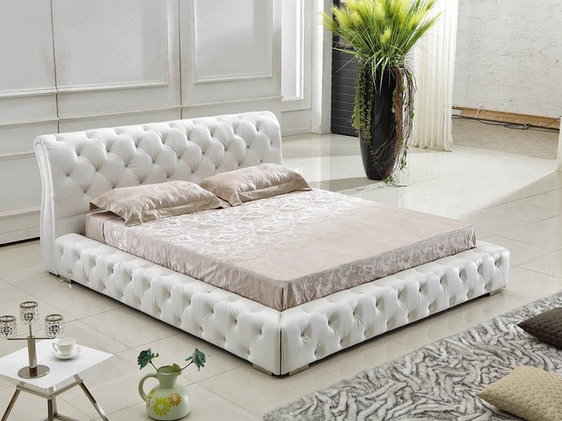 White Leather Tufted Headboard With Crystals