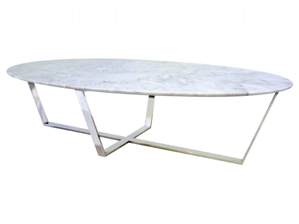 White Marble Top Coffee Table Oval