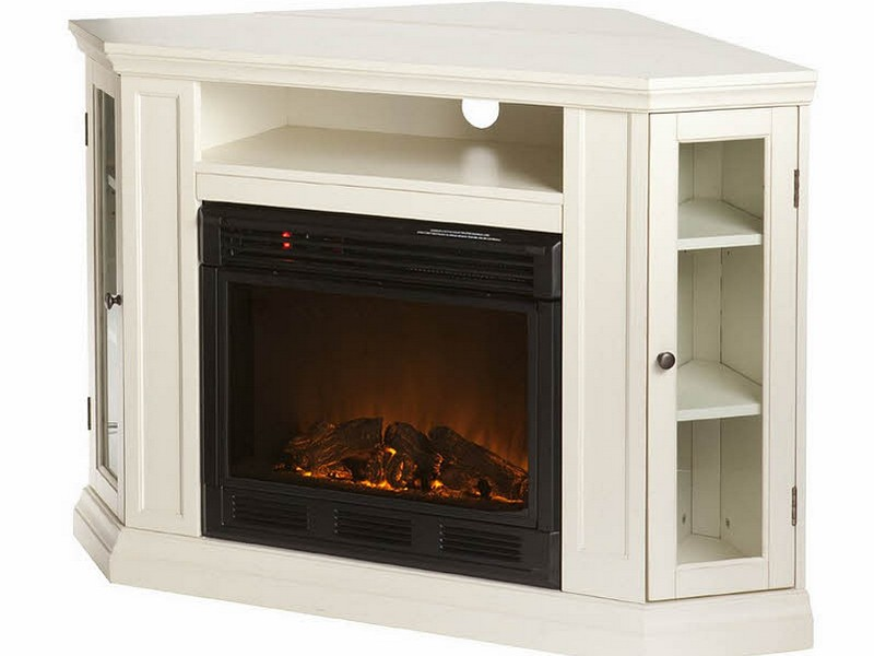 White Media Console Electric Fireplace