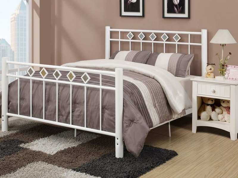 White Metal Bed Frame Queen Size