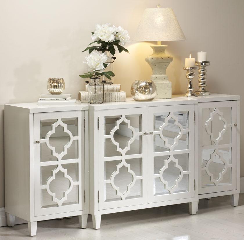 White Mirrored Buffet Cabinet