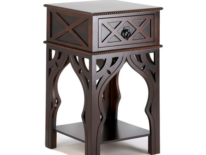 White Moroccan End Table