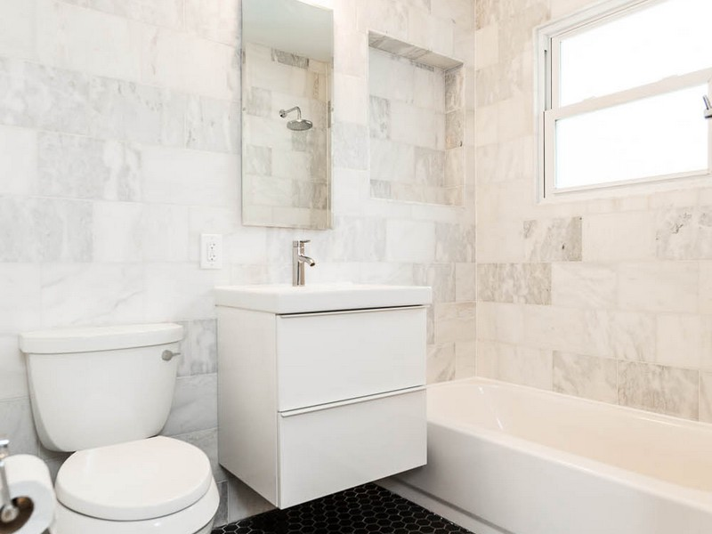 White Penny Tile Bathroom