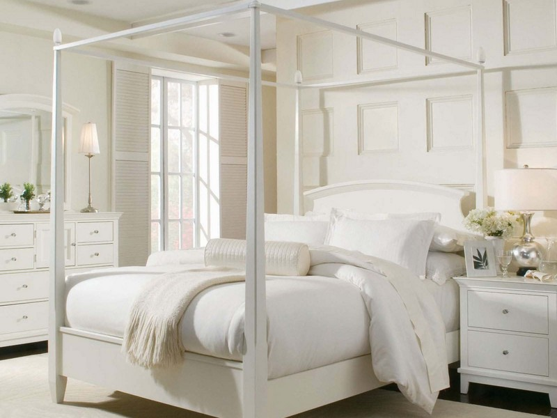White Queen Canopy Bedroom Set