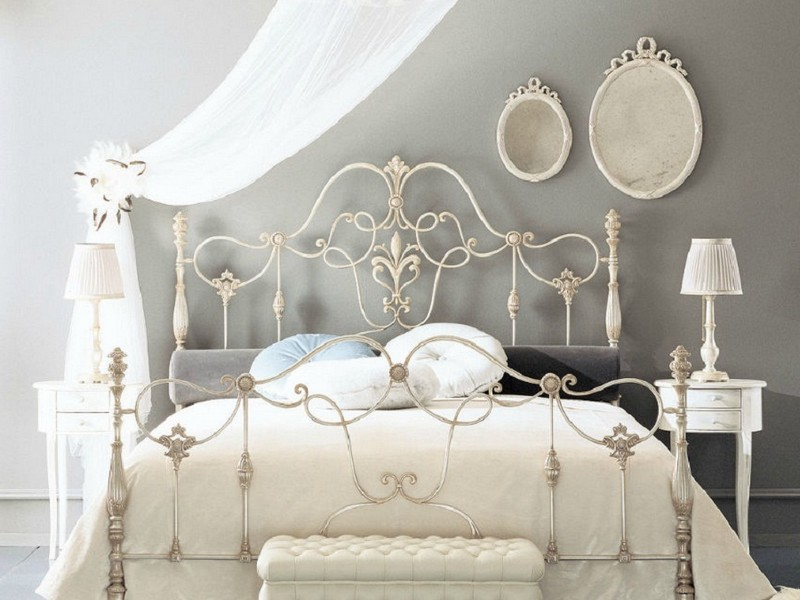 White Rod Iron Headboard