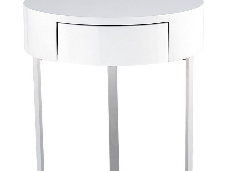 White Round Nightstand With Drawer