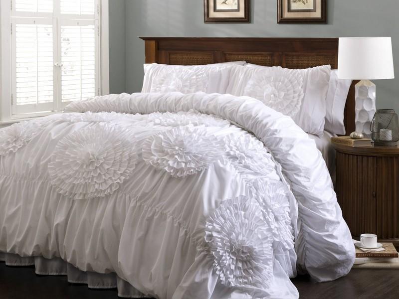 White Ruffle Twin Bedding