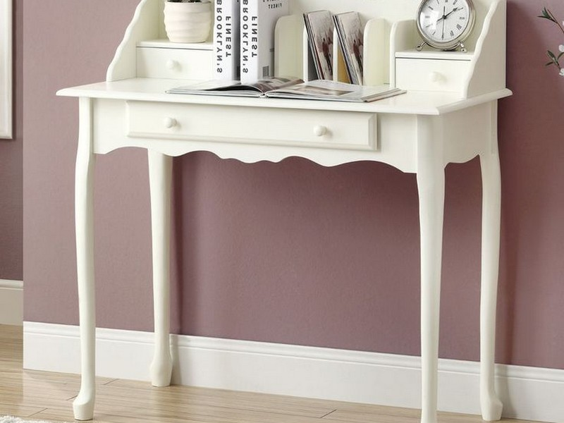 White Secretary Desk With Drawers