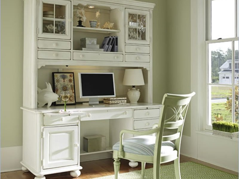 White Secretary Desk With Hutch