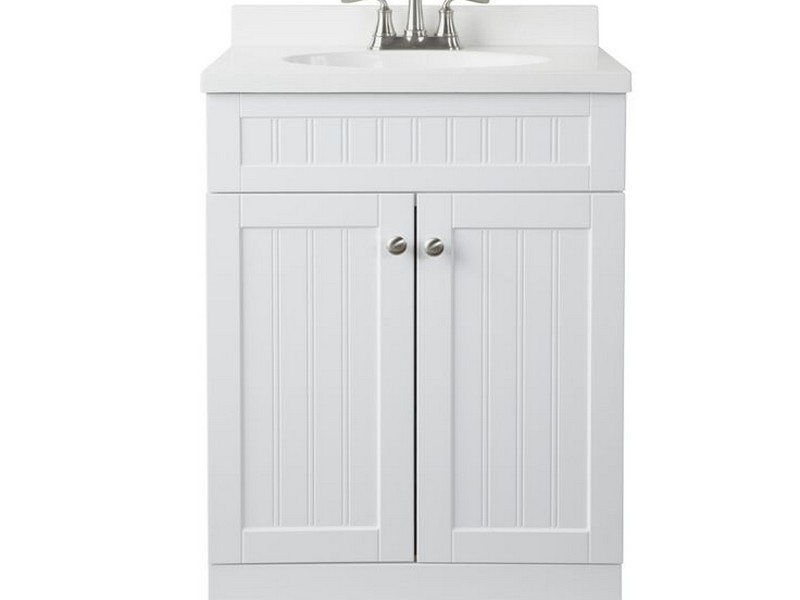 White Single Sink Bathroom Vanities