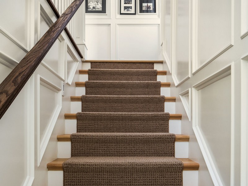White Stairs With Carpet Runner