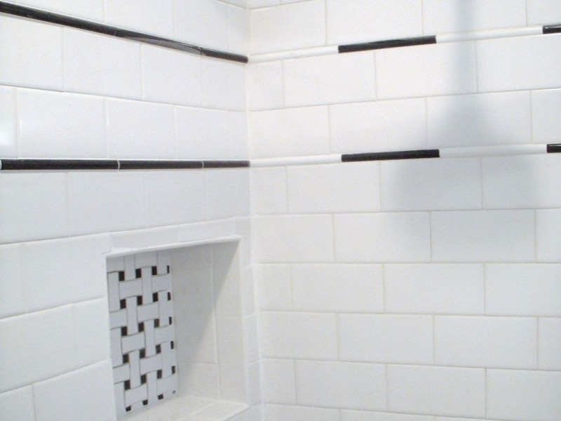 White Subway Tile Bathroom Accent