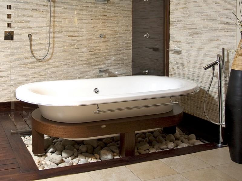 White Subway Tile Bathroom Wood Floor