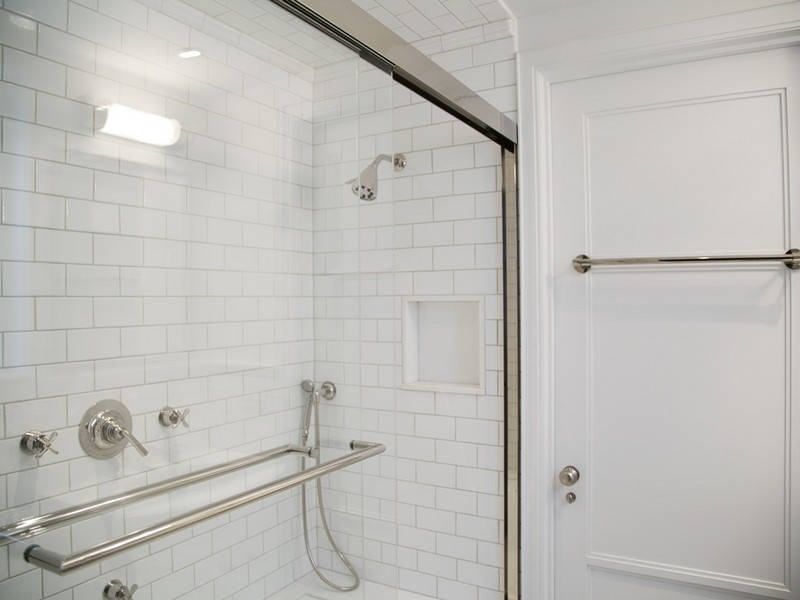 White Subway Tile In Bathroom