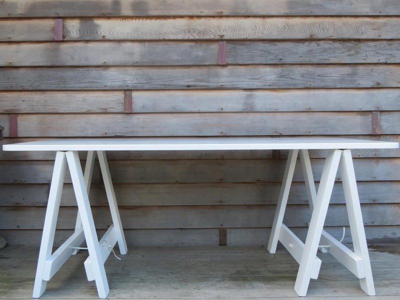 White Trestle Table Desk