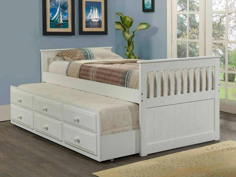 White Twin Trundle Bed With Storage