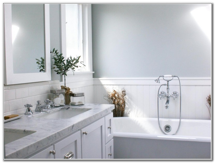 White Wainscoting In Bathroom