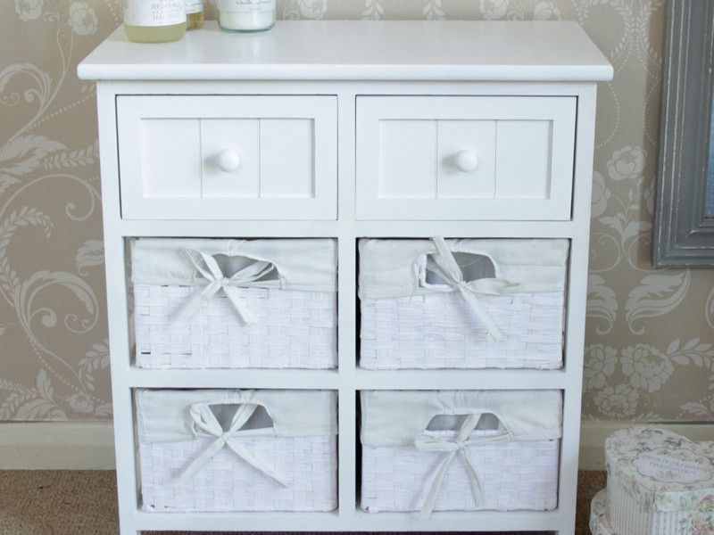 White Wicker Bathroom Storage