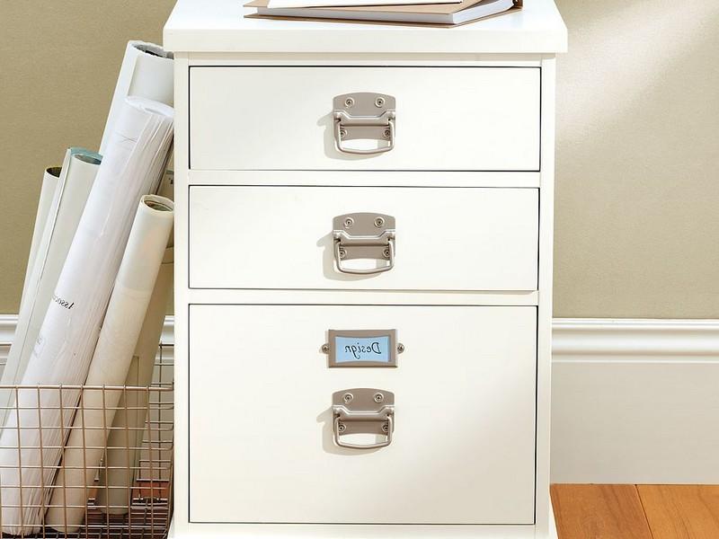 White Wood File Cabinet Desk