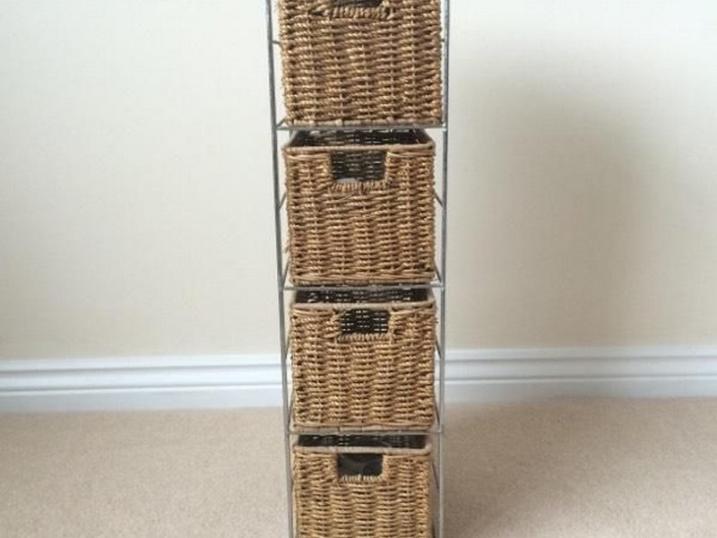 Wicker Bathroom Storage Tower