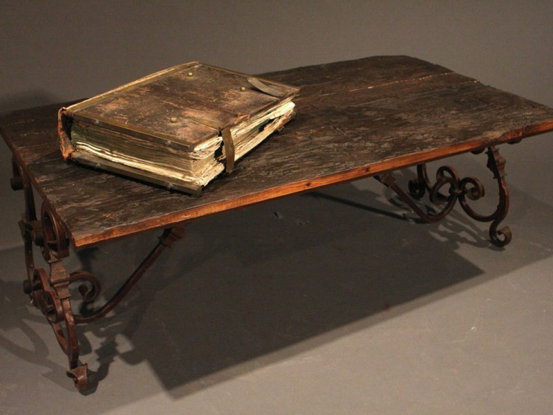 Wood And Rod Iron Coffee Table