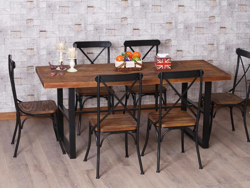 Wood And Wrought Iron Dining Table