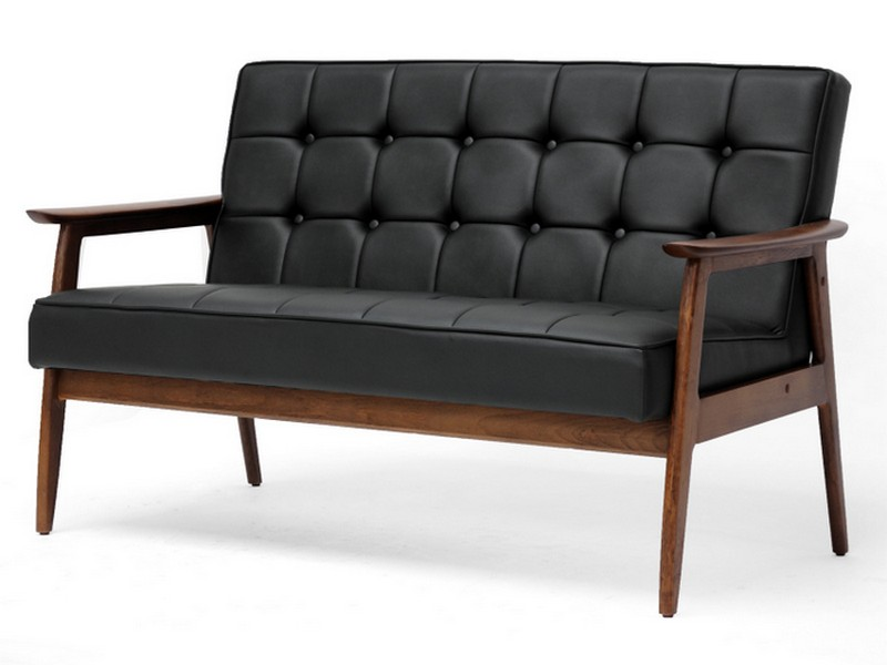 Wood Frame Leather Couch