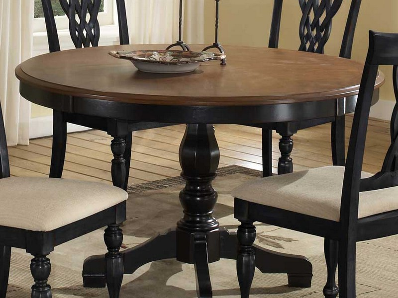 Wood Pedestal Dining Table Set