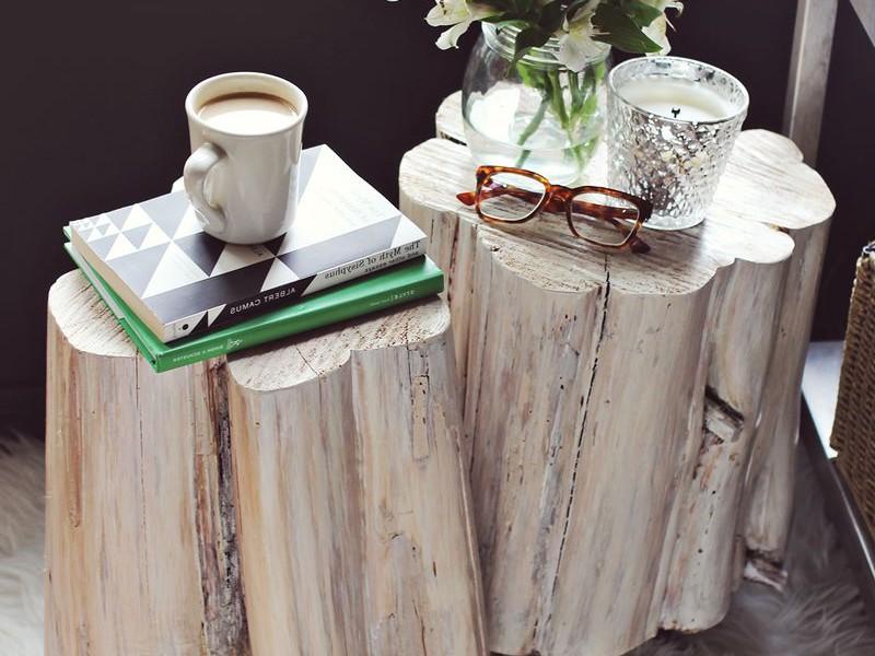 Wood Stump Side Table Diy