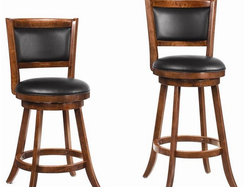 Wood Swivel Bar Stools With Backs
