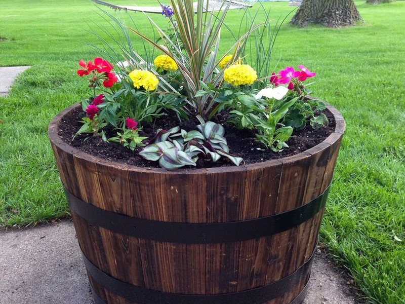Wooden Barrel Planters Home Depot