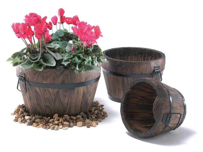 Wooden Barrel Planters Uk